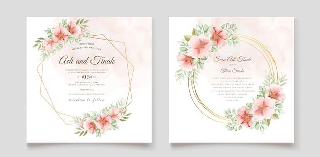 Belle Carte D'invitation De Mariage Avec Couronne Florale Vecteur gratuit