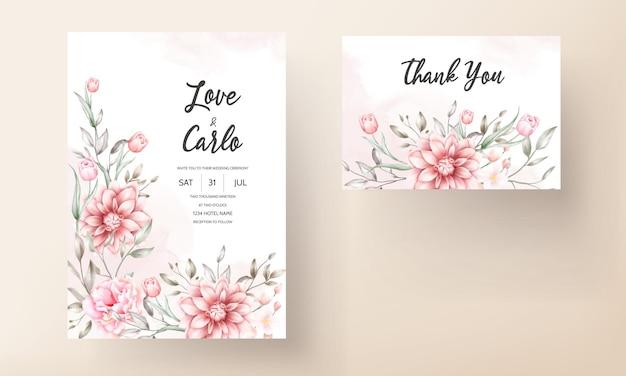 Belle Carte D'invitation De Mariage Avec Des Fleurs à L'aquarelle Vecteur gratuit