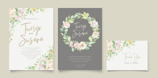 Belle Carte D'invitation De Mariage Floral Doux Et Feuilles Vecteur gratuit