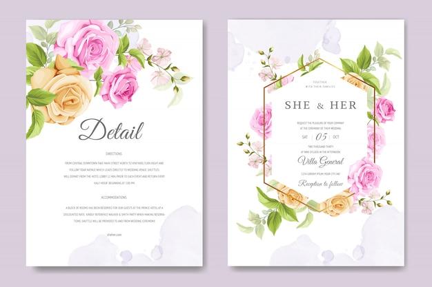 Belle carte d'invitation avec modèle coloré floral et feuilles Vecteur Premium