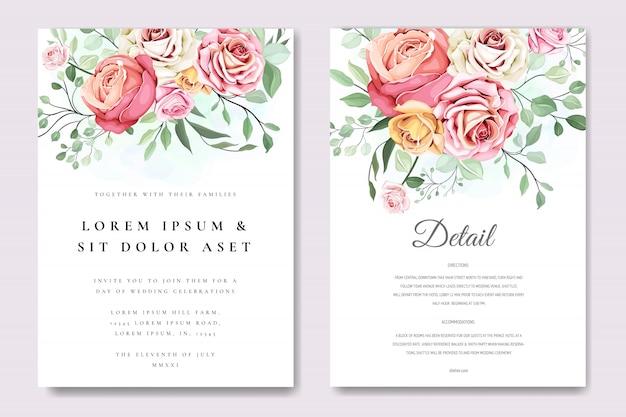 Belle carte d'invitation avec modèle de couronne florale Vecteur Premium