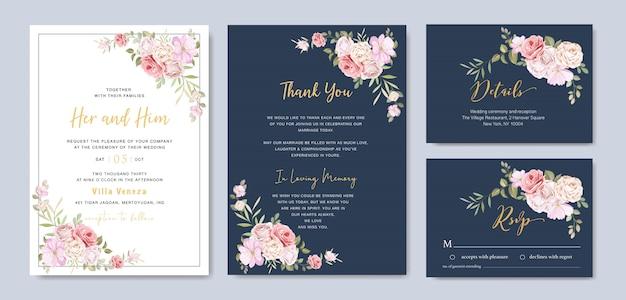 Belle carte de mariage floral avec modèle de cadre de roses Vecteur Premium