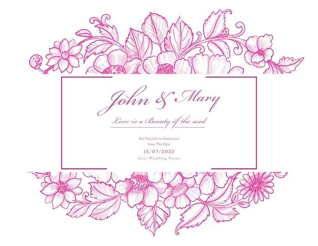 Belle Carte De Mariage Floral Rose Décoratif Vecteur gratuit
