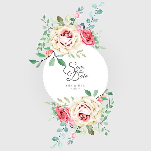 Belle carte de mariage floral Vecteur Premium