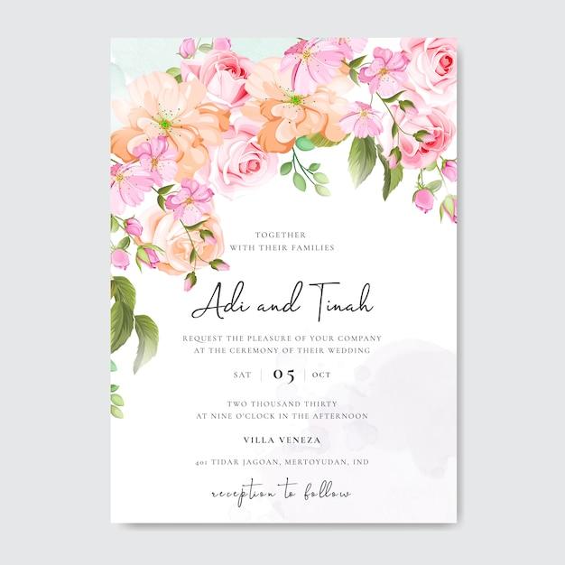 Belle carte de mariage et d'invitation avec cadre floral et feuilles Vecteur Premium