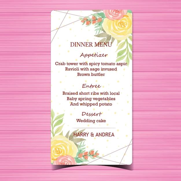 Belle carte de menu de mariage floral Vecteur Premium