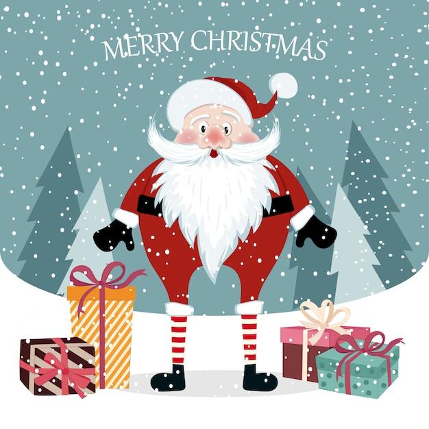 Belle Carte De Noël Plat Avec Le Père Noël. Affiche De Noël. Vecteur Premium