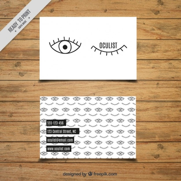 Belle Carte De Oculiste Vecteur gratuit