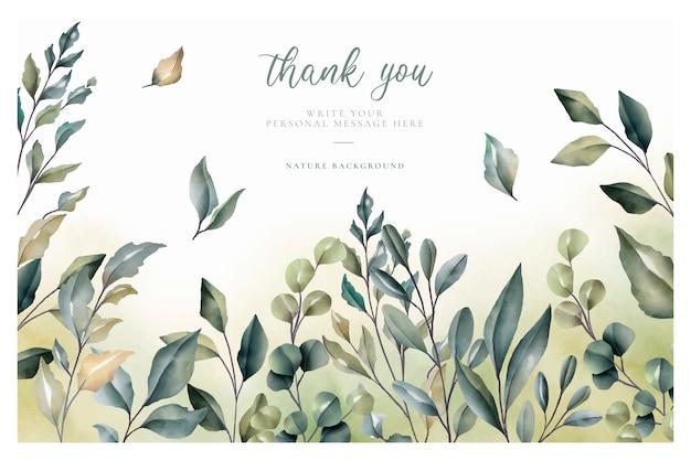 Belle carte de remerciement avec feuilles d'aquarelle Vecteur gratuit