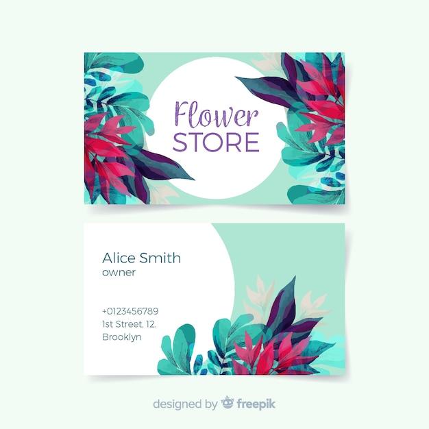 Belle carte de visite florale aquarelle Vecteur gratuit