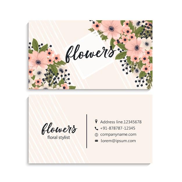 Belle carte de visite florale Vecteur gratuit
