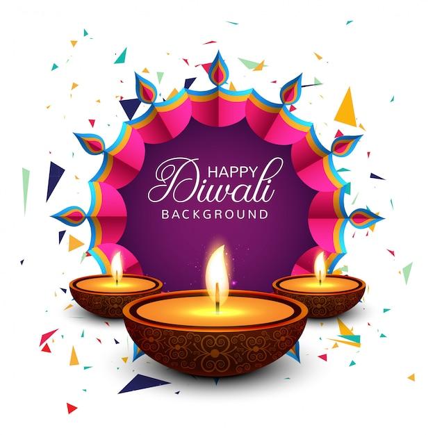 Belle carte de voeux pour le vecteur heureux fond diwali festival Vecteur gratuit