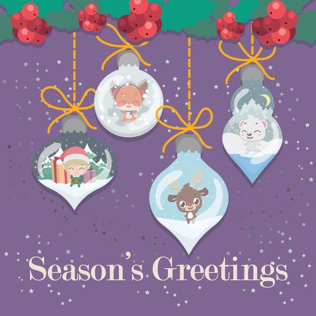 Belle cartes de vœux avec éléments décoratifs Vecteur Premium