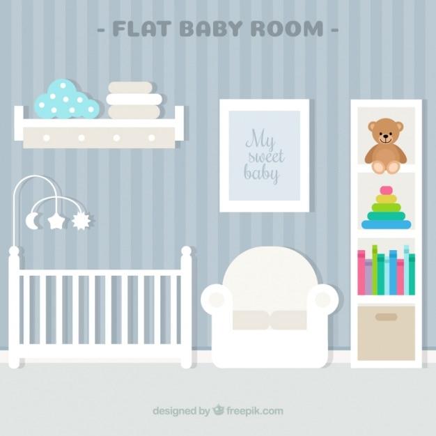 Belle chambre de bébé avec mur rayé et berceau blanc | Télécharger ...