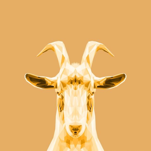 Belle chèvre d'art doré Vecteur Premium