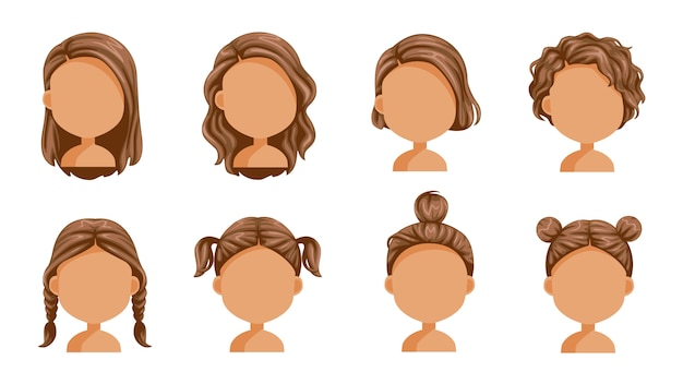 Belle coiffure. Vecteur Premium