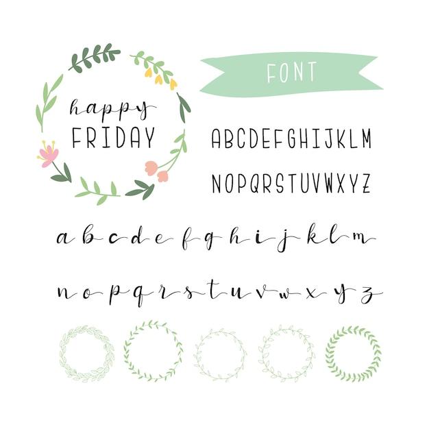 Belle Collection D'alphabets Vecteur gratuit