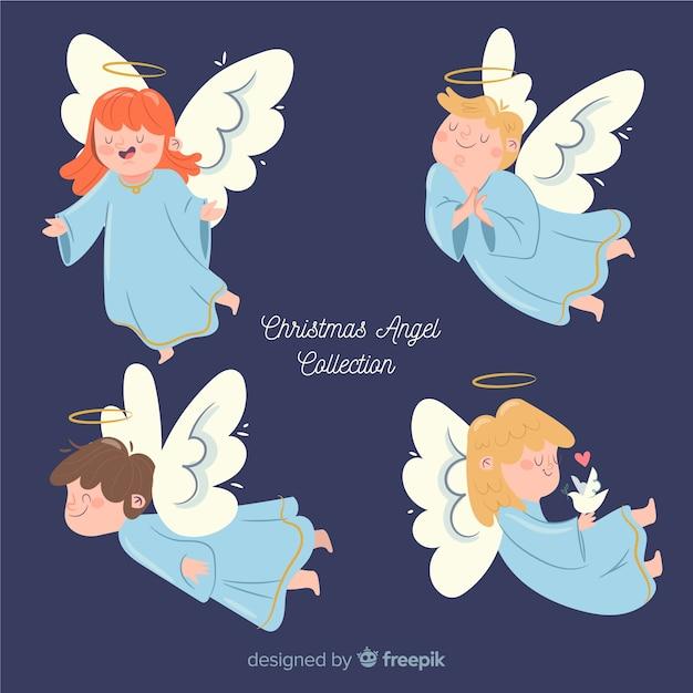 Belle collection d'anges de noël Vecteur gratuit