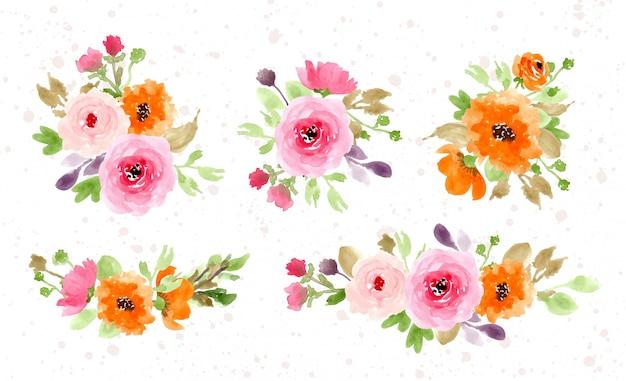 Belle collection d'arrangement floral Vecteur Premium