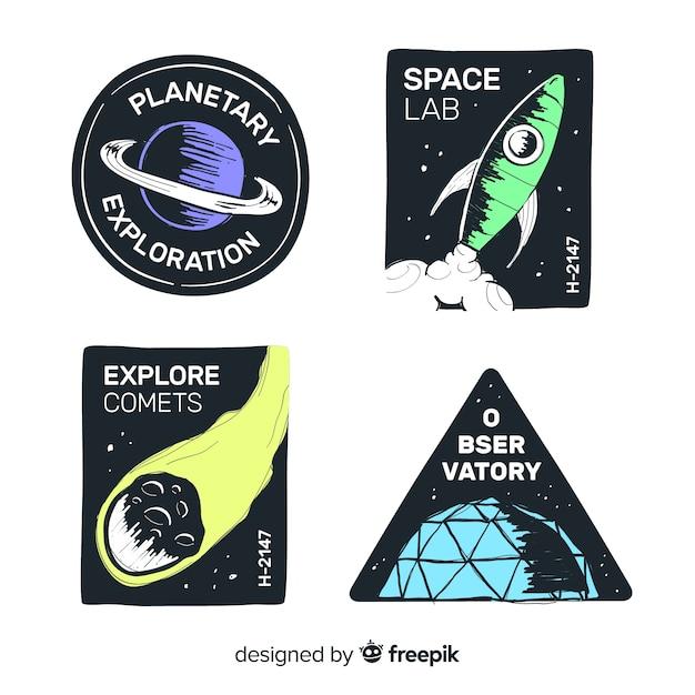 Belle collection de badge de l'espace dessiné à la main Vecteur gratuit