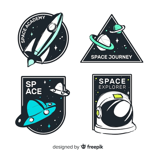 Belle collection de badge de l'espace dessiné à la main Vecteur gratuit