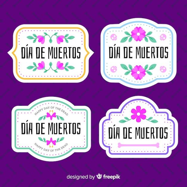 Belle collection de badges dia de muertos Vecteur gratuit