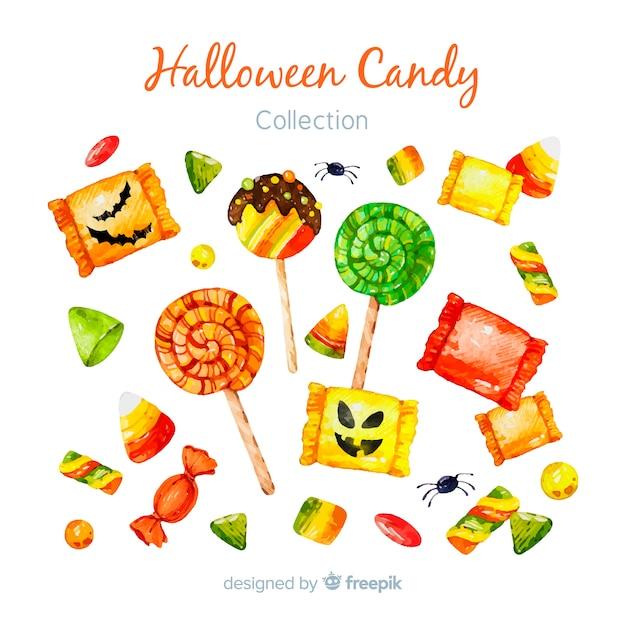 Belle collection de bonbons halloween aquarelle Vecteur Premium