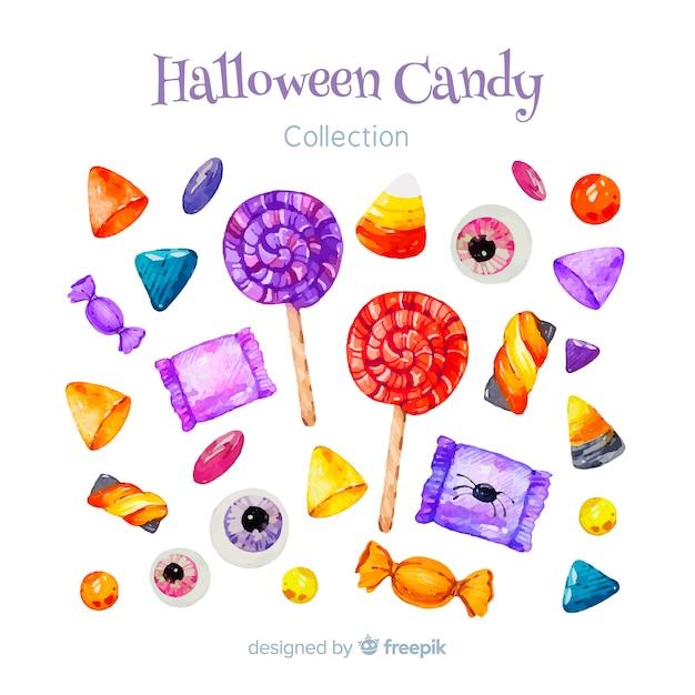 Belle collection de bonbons halloween aquarelle Vecteur gratuit