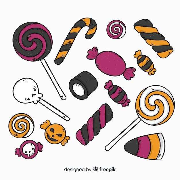 Belle collection de bonbons halloween dessinés à la main Vecteur gratuit