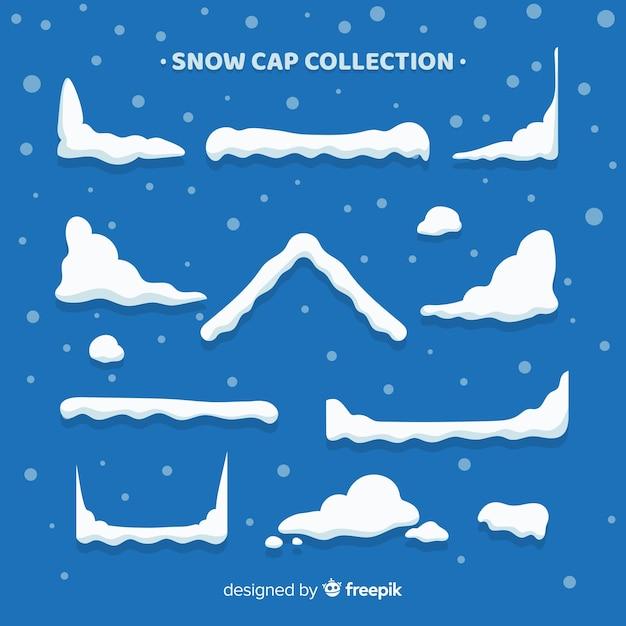 Belle collection de bonnet de neige Vecteur gratuit