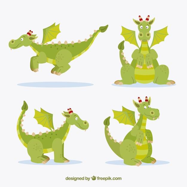 Belle collection de caractères de dragon avec un design plat Vecteur gratuit