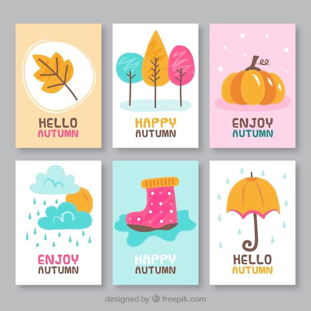Belle collection de cartes automne dessinés à la main Vecteur gratuit