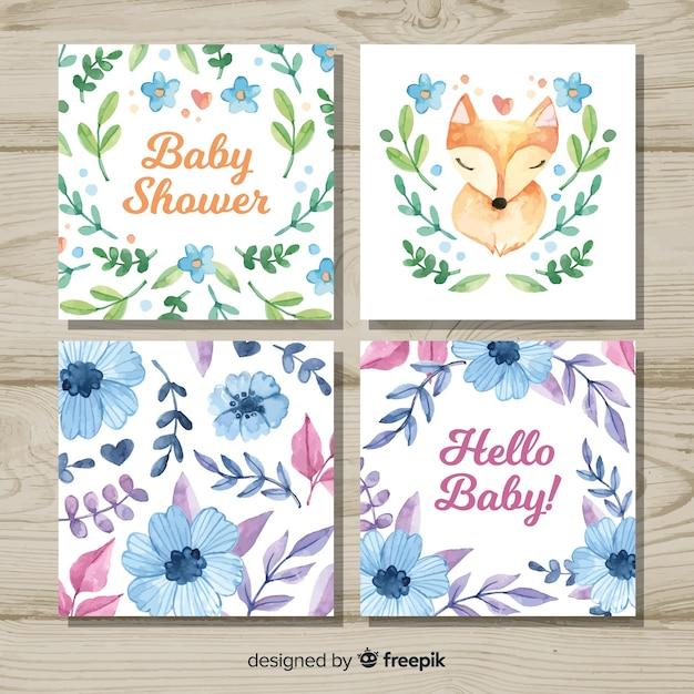 Belle collection de cartes de douche de bébé aquarelle Vecteur gratuit