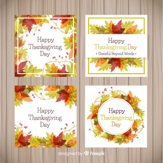 Belle collection de cartes de remerciement aquarelle Vecteur gratuit