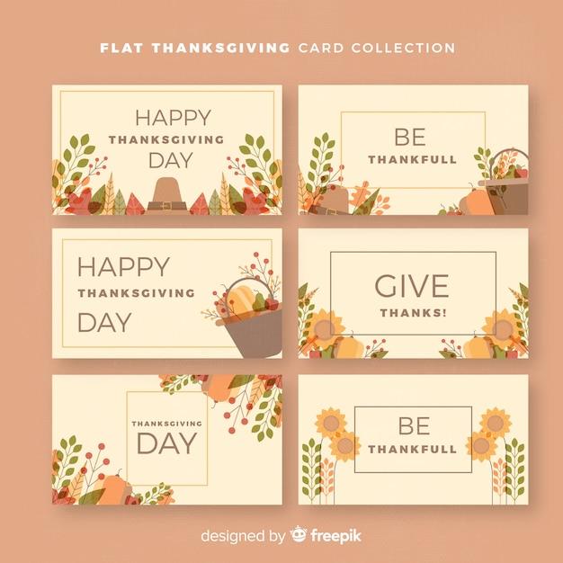 Belle collection de cartes de remerciement avec un design plat Vecteur gratuit