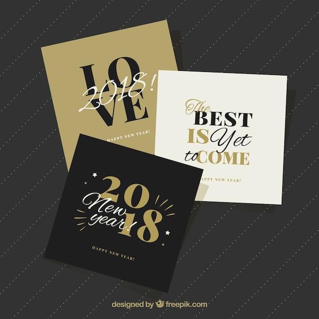 Belle Collection De Cartes De Voeux Carrés De La Nouvelle Année Vecteur gratuit