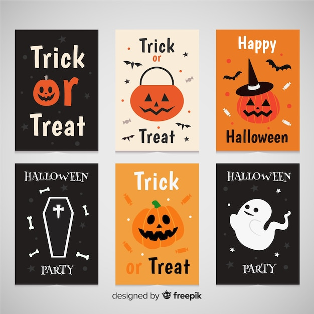 Belle collection de cartes de voeux halloween Vecteur gratuit