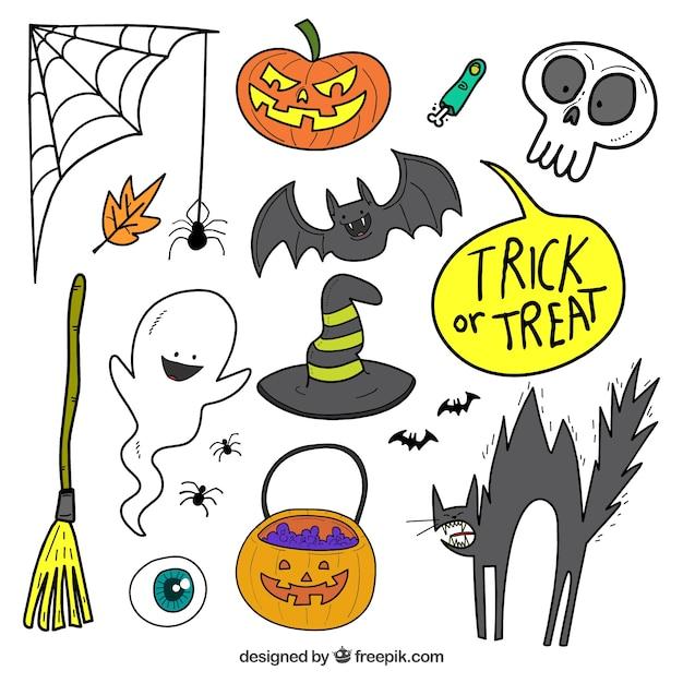 Belle collection dessinée à la main d'attributs halloween Vecteur gratuit