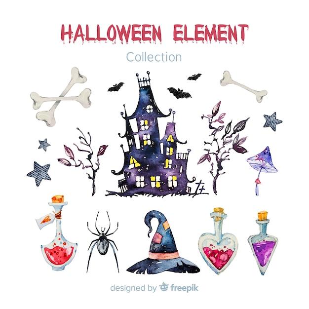 Belle collection d'éléments aquarelle halloween Vecteur gratuit