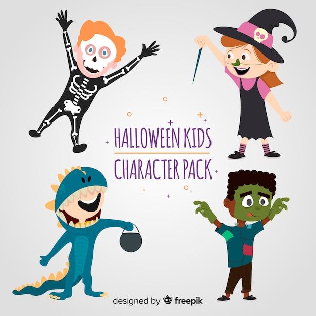 Belle collection enfants halloween avec un design plat Vecteur gratuit