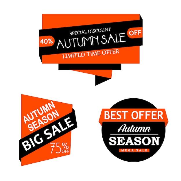 Belle collection d'étiquettes d'automne aquarelle Vecteur gratuit