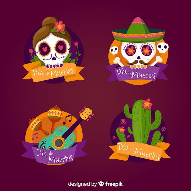 Belle collection d'insignes de fête mexicaine avec un design plat Vecteur gratuit