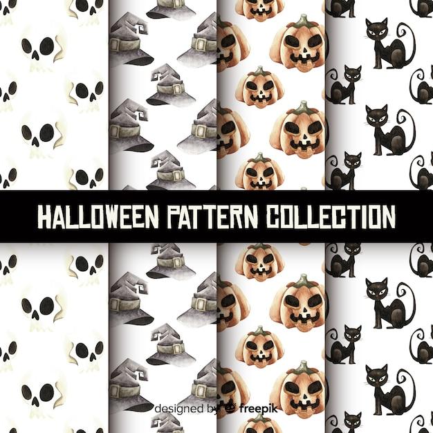 Belle collection de motifs halloween aquarelle Vecteur gratuit