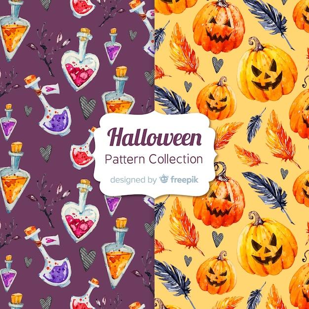 Belle collection de motifs halloween aquarelle Vecteur Premium