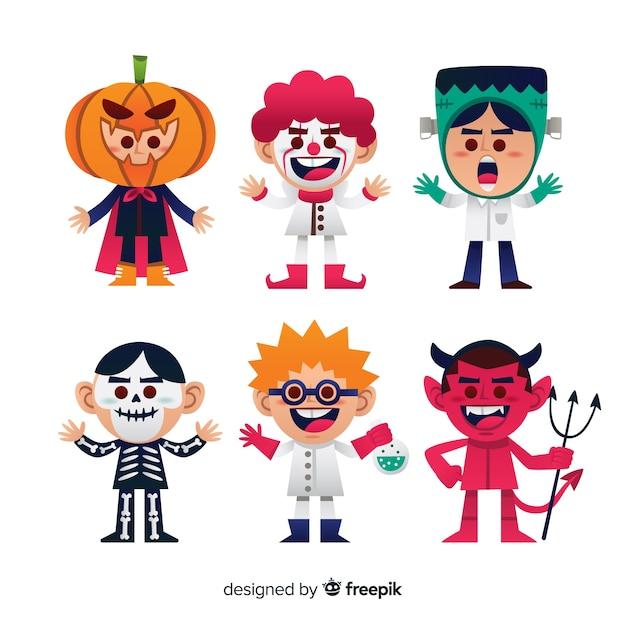 Belle collection de personnages d'halloween au design plat Vecteur gratuit
