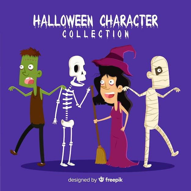 Belle collection de personnages d'halloween dessinés à la main Vecteur gratuit