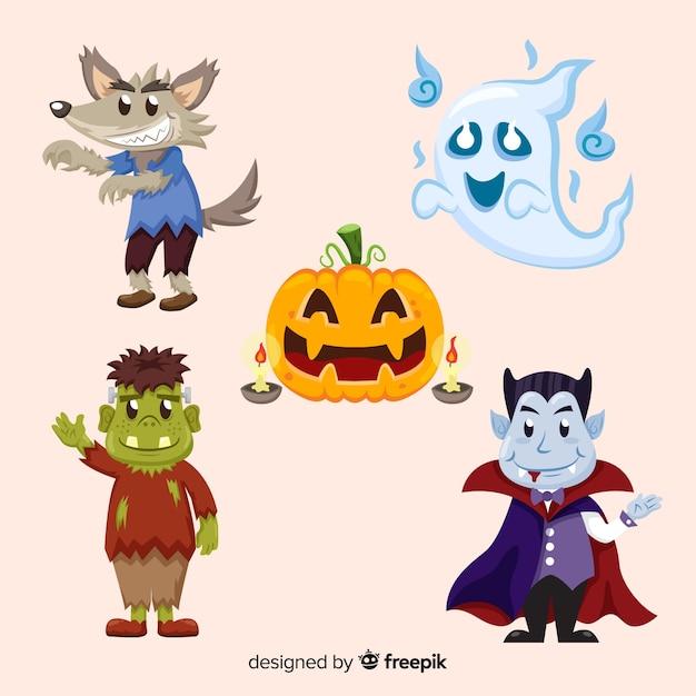 Belle collection de personnages de halloween dessinés à la main Vecteur gratuit