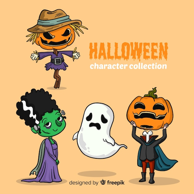 Belle collection de personnages d'halloween dessinés à la main Vecteur gratuit