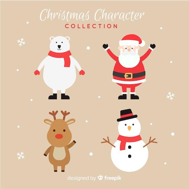 Belle Collection De Personnages De Noël Avec Design Plat Vecteur Premium