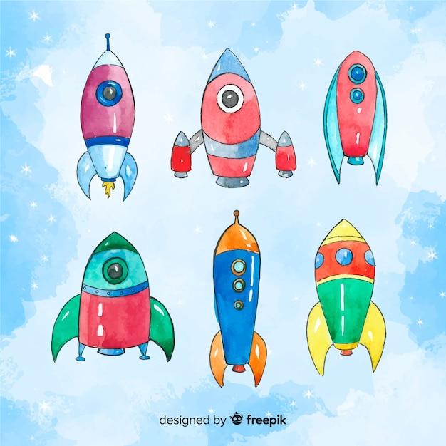 Belle collection de vaisseaux spatiaux aquarelle Vecteur gratuit